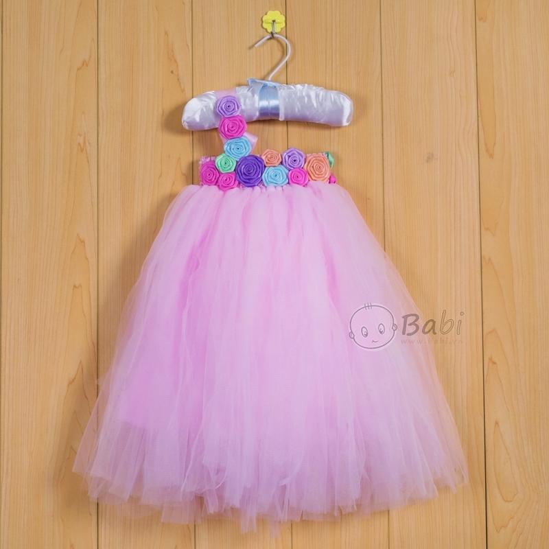 Váy đầm tutu cho bé gái màu hồng phấn