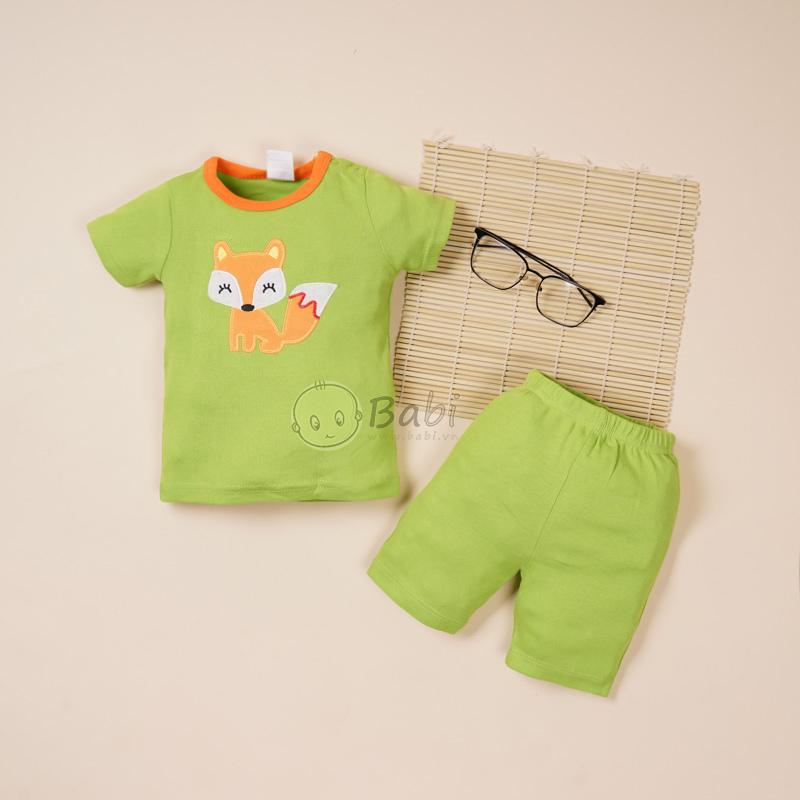 Bộ sơ sinh ngắn tay thêu hình thú cho bé trai 3-6 tháng