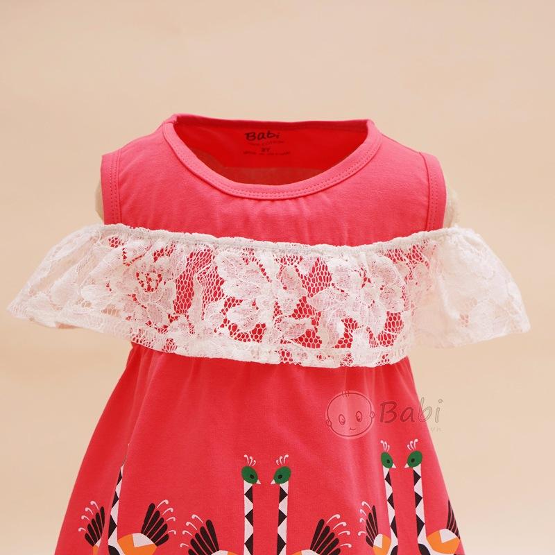 Đầm xinh bé gái trễ vai phối ren in hạc (9 tháng - 7 tuổi)
