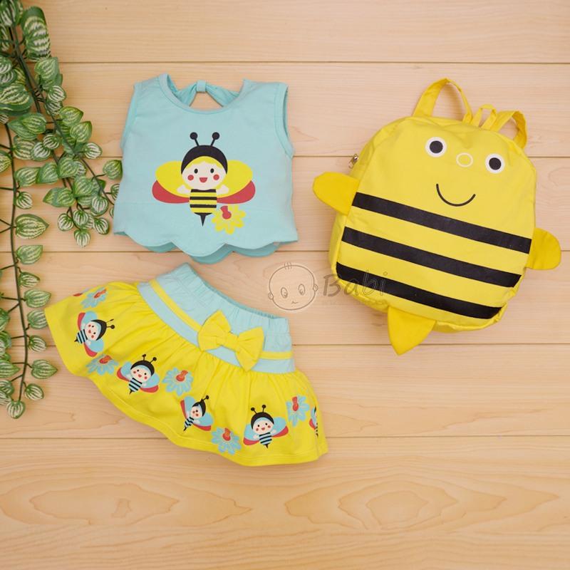 Bộ áo váy bé gái kèm balo hình ong xinh xắn