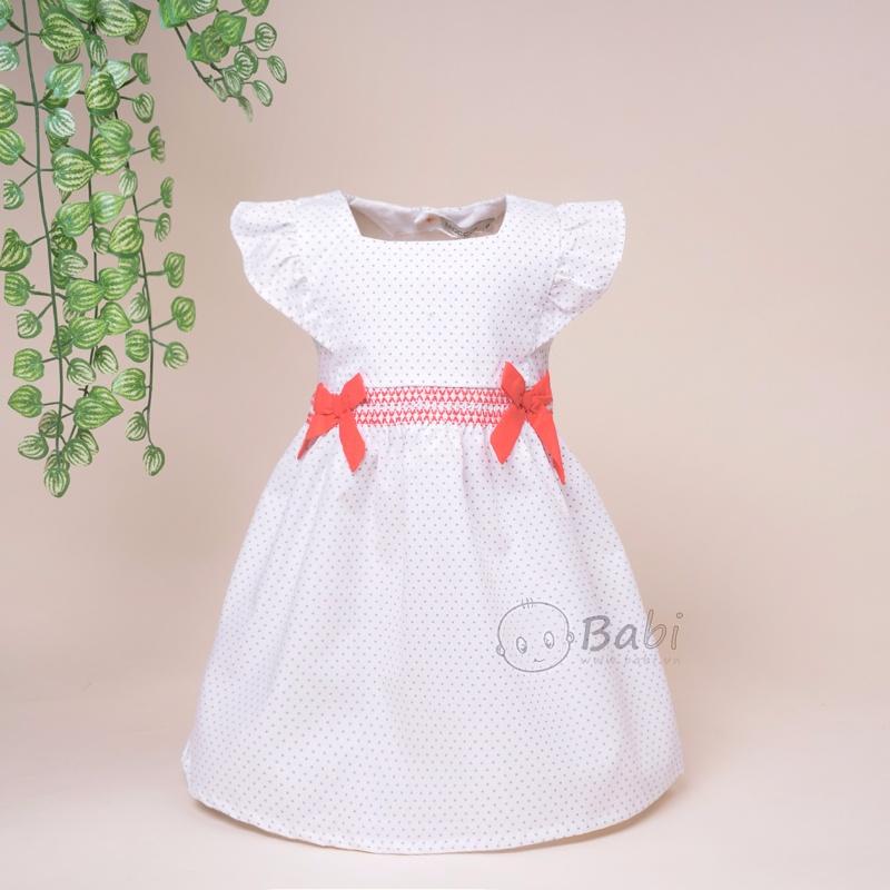 Đầm cotton bé gái đính nơ eo hoa văn dễ thương