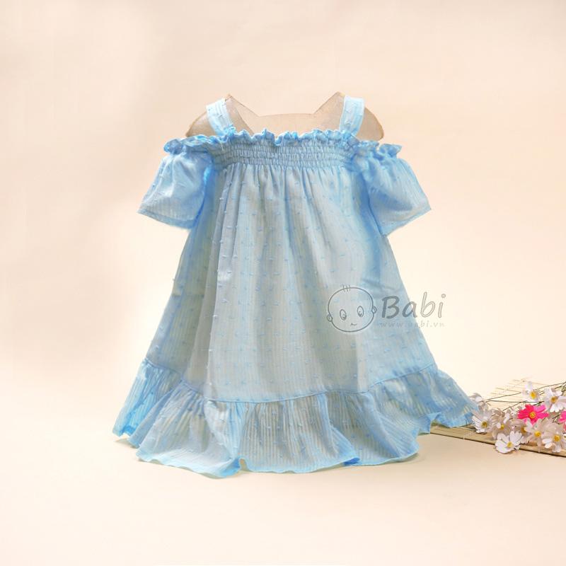 Đầm rớt vai nhún thun dễ thương cho bé gái