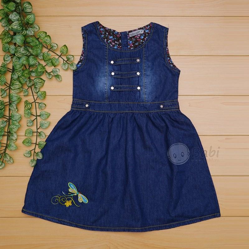 Đầm jeans cho bé gái thêu chuồn chuồn (7-12 tuổi)