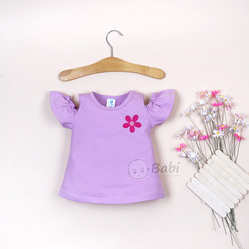 Áo thun kiểu rớt vai cho bé gái thêu hoa (1-6 tuổi)