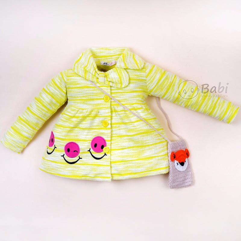 Áo khoác len dệt kim cổ phối nơ cho bé gái