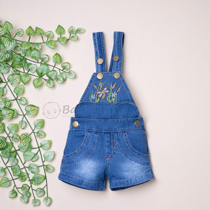 Quần yếm jean cho bé gái thêu hoa