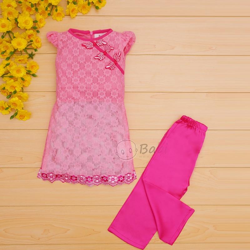 Bộ áo dài Tết cho bé chất liệu ren cao cấp (6 tháng - 8 tuổi)