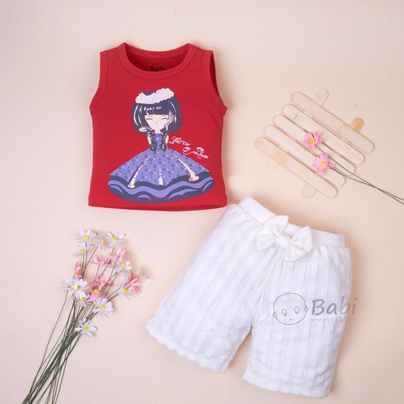 Bộ áo thun quần voan lót cotton cho bé gái cực xinh