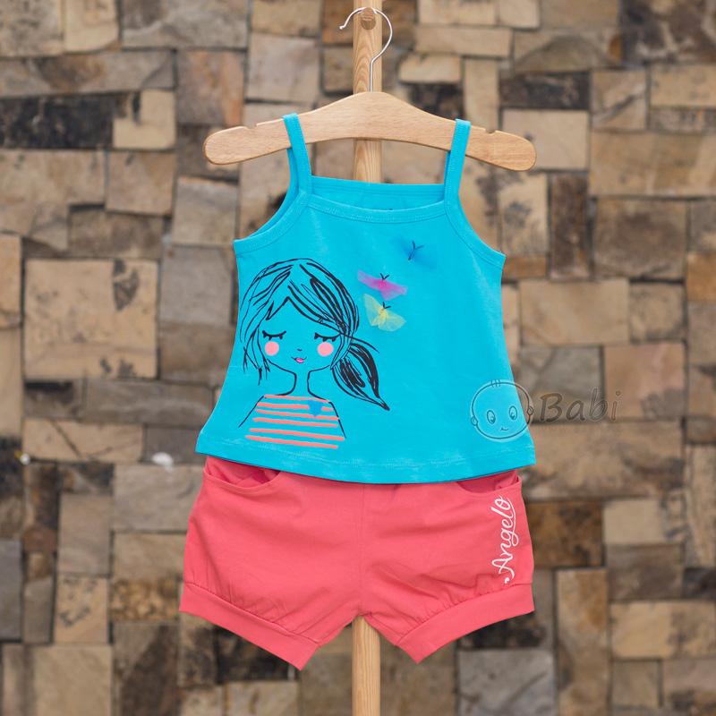 Áo hai dây cùng quần short vải để mặc nhà cho bé