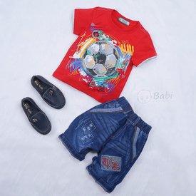Do bo cho be trai in hinh trai bong quan jeans (1 - 5 tuoi)