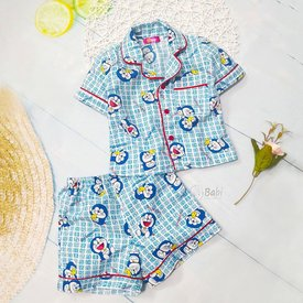 Bo pyjama ngan tay cho be 9 thang - 8 tuoi hinh Doremon
