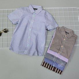 Ao so mi ke soc cho be trai ngan tay ca tinh (5-11 tuoi)