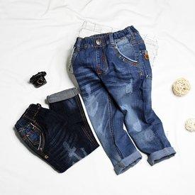 Quan jeans dai cho be trai lung thun wash nhe ( 1 tuoi - 5 tuoi)