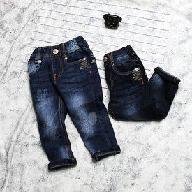 Quan Jeans Be Trai Dai Lung Thun Wash Tim (2-5 Tuoi)