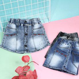 Quan Short Jeans Gia Vay Cho Be Gai Wax Nhe Dinh Nut Sanh Dieu (4 - 11 tuoi)
