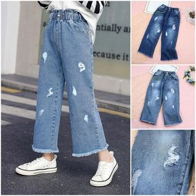 Quan Jeans Lung Dai Ong Suong Cho Be Gai Wax Rach Sanh Dieu Size Dai (7 - 13 tuoi)