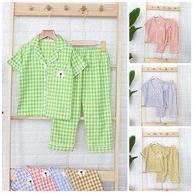 Pijama Cho Be Tay Ngan Quan Dai Soc Caro Tui Nho In Gau (2 - 10 tuoi)