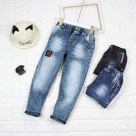 Quan Jeans Be Trai Dai Theu Chu Lung Thun Wax Nhe Thoi Trang (2 - 9 Tuoi)