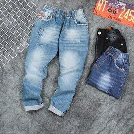 Quan Jeans Dai Cho Be Trai Lung Thun Wax Nhe Thoi Trang Size Dai Co (8 - 15 Tuoi)