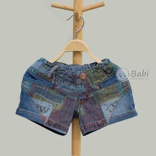 Quan short jeans hoa tiet tui mo truoc cho be