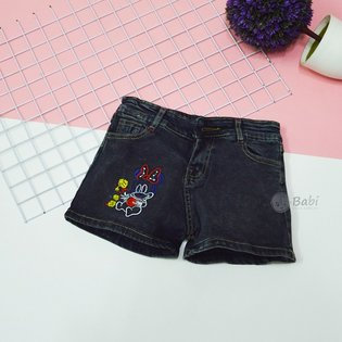 Quan jeans short be gai theu Mickey