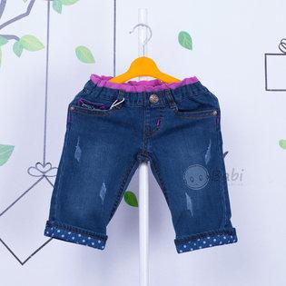 Quan jeans lung lai cham bi be gai sanh dieu - Thoi trang tre em cao cap