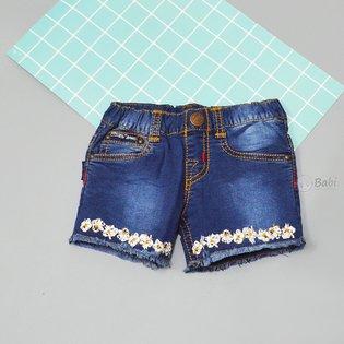 Quan short jeans be gai lai tua theu hoa