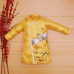 Ao dai gam cho be trai cao cap in chim hac (9 thang - 13 tuoi)