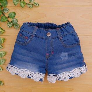 Quan short jeans cho be gai phoi ren 1-10 tuoi