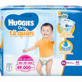 Ta (bim) quan Huggies sieu tham chong tran size XL- 62mieng (cho tre 12 - 17kg)