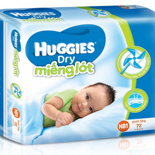 Ta (bim) lot so sinh Huggies NB1 -72 mieng ( duoi 5kg)