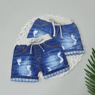 Quan short jeans be gai lung bo thun wash nhe