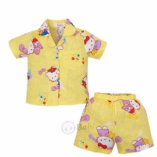 Bo pyjama tre em tay ngan hoa tiet dep cho be gai