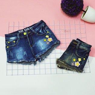 Quan short jeans be gai theu hoa buom (9kg-20kg)