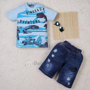 Bo ao thun quan jeans cho be trai di choi le (size dai)