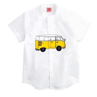 Ao so mi be trai tay ngan cỏ trụ theu xe bus