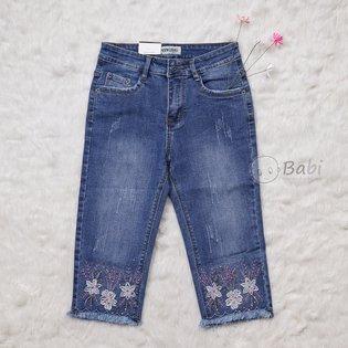 Quan jeans lung be gai theu hoa tim (7-11 tuoi)