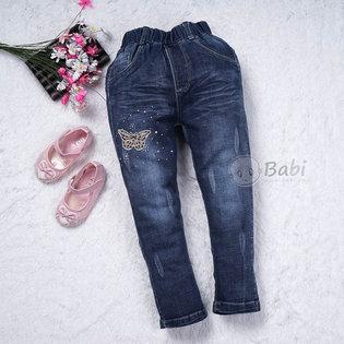 Quan jeans lung thun theu buom cho be gai (5-8 tuoi)