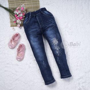 Quan jeans lung thun theu hoa cho be gai (5-8 tuoi)