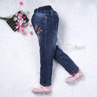 Quan jeans be gai lung thun theu hoa (5-8 tuoi)