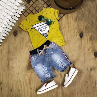 Do bo cho be trai phoi quan Jeans ca tinh (size dai)