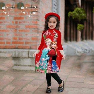 Bo ao dai be gai cach tan hinh cong chua kem man (8-11 tuoi)