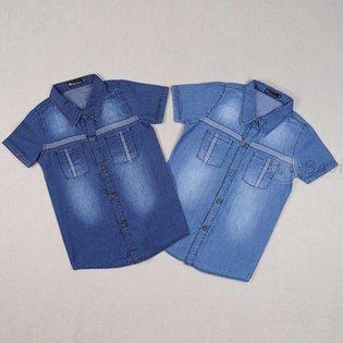 Ao so mi jeans be trai ngan tay phoi 2 tui