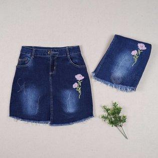 Chan vay jeans cho be gai theu hinh hoa