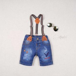Quan jeans cho be trai theu hinh dai bang co day deo (1-5 tuoi)
