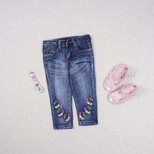 Quan jeans dai cho be gai theu hoa (1 - 6 tuoi)