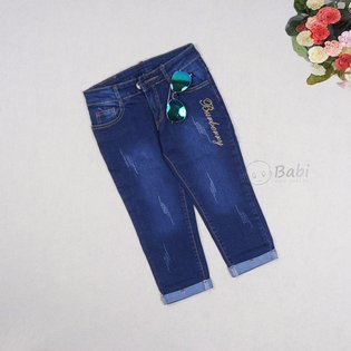 Quan jeans cho be gai lo phoi chu wash nhe (4 - 9 tuoi)