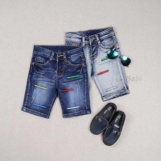 Quan jeans lung cho be trai theu chi mau (1 - 6 tuoi)