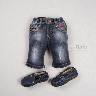 Quan jeans cho be trai lung thun wash nhe (size nhi) (1 - 4 tuoi)