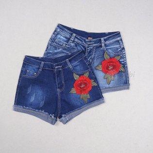 Quan short jeans cho be gai theu dap hoa hong (10 - 13 tuoi)